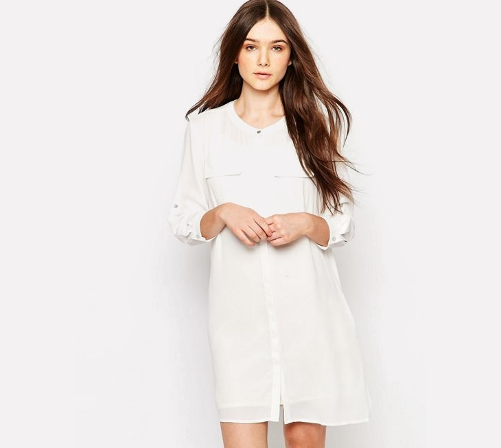 Long Sleeve Short White Dress