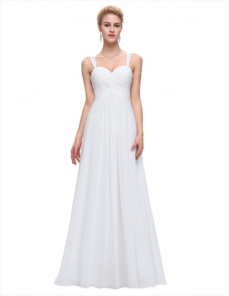 Long White Bridesmaid Dress