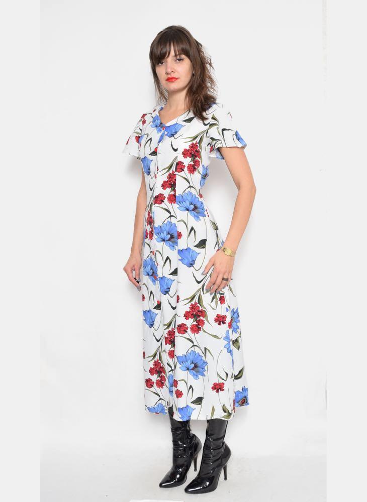 Vintage White Floral Dress
