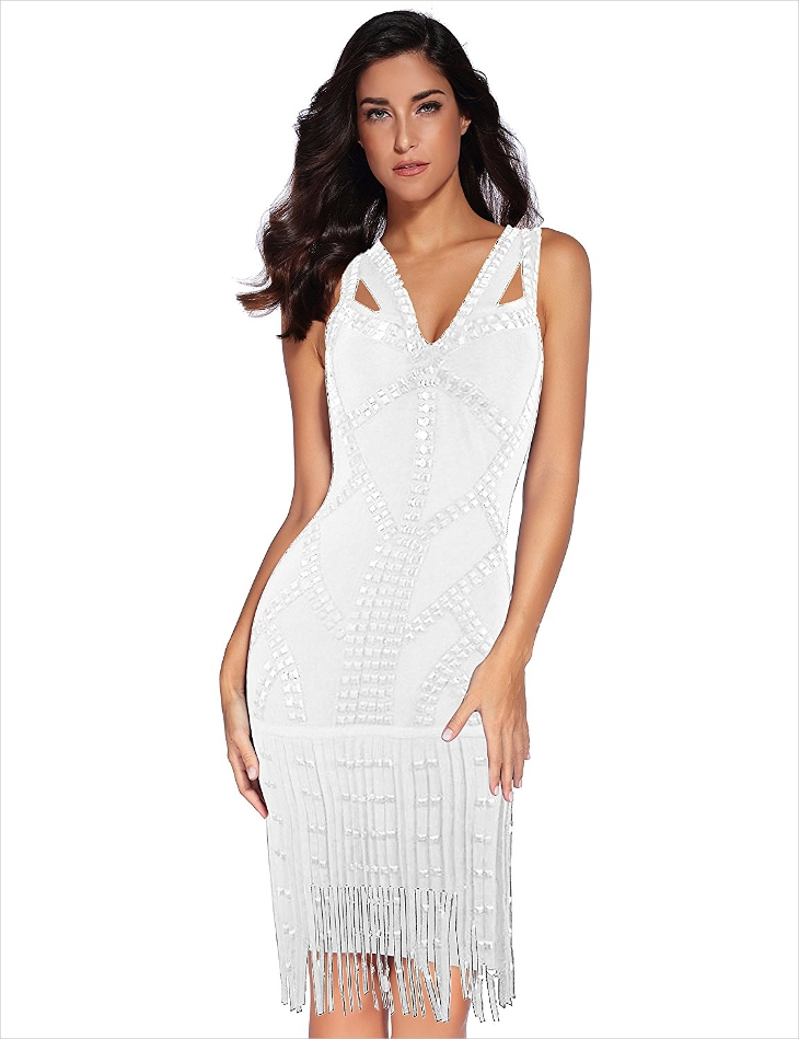 White Fringe Bodycon Dress