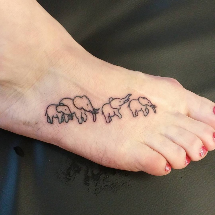 Small Elephant Tattoo on Foot