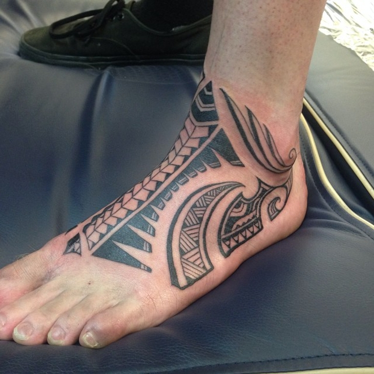 Polynesian Foot Tattoo for Men