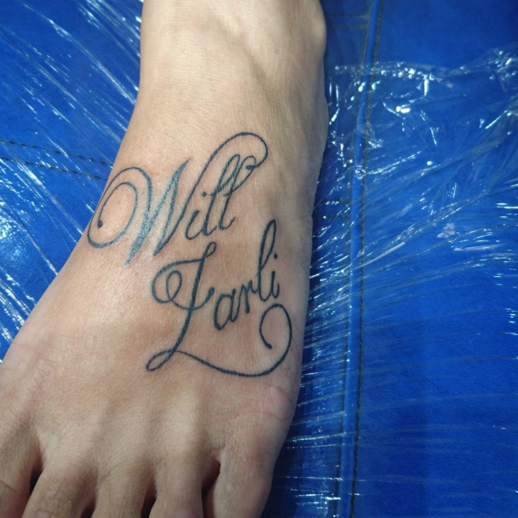 Foot Quote Tattoo for Men