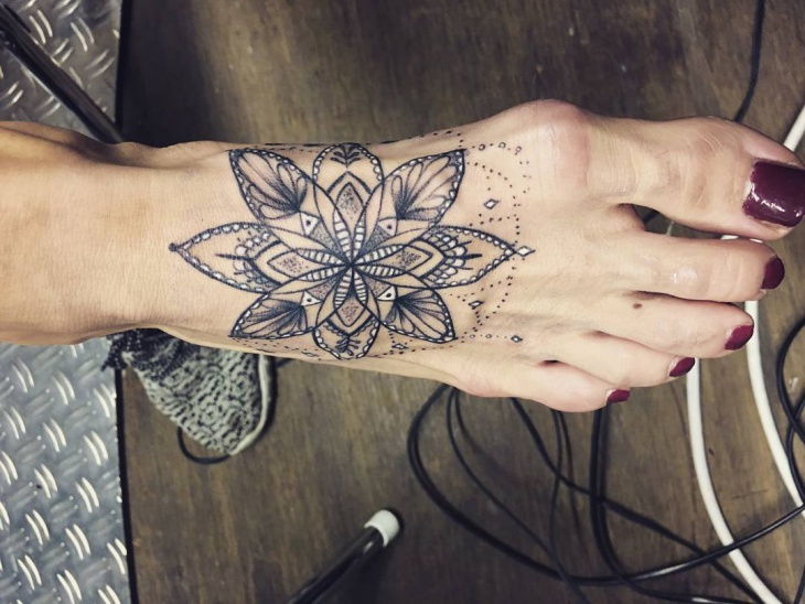 Girly Flower Tattoo Design on Foot
