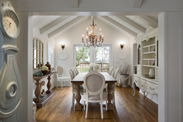 traditional white dining room
