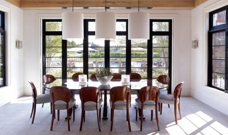 white scandivian dining room