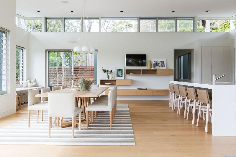 White Dining Room with Wooden Table