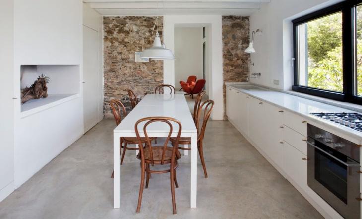 narrow white dining room