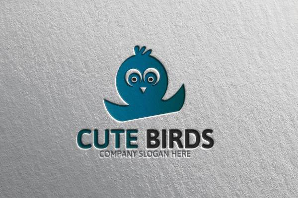 cute blue bird logo design