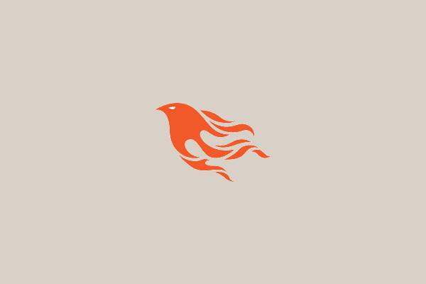 flame bird head logo