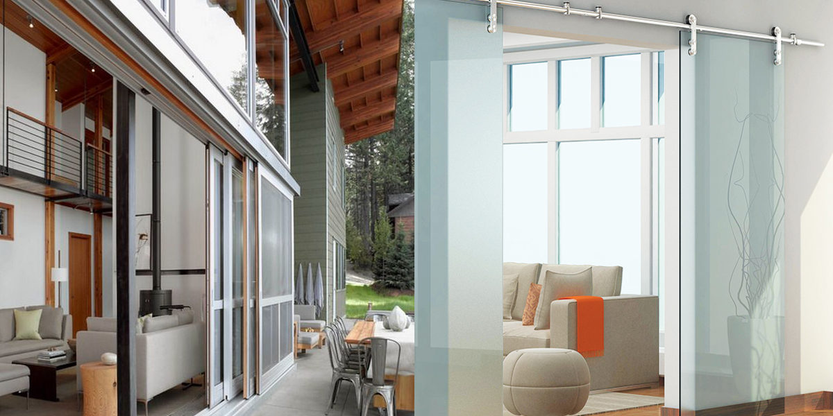 contemporary style glass door