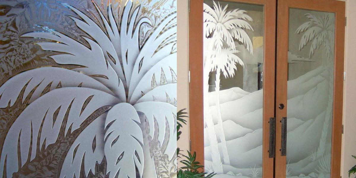 Palm Sunset Glass Door