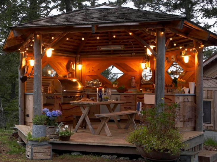 rustic wood outdoor kitchen