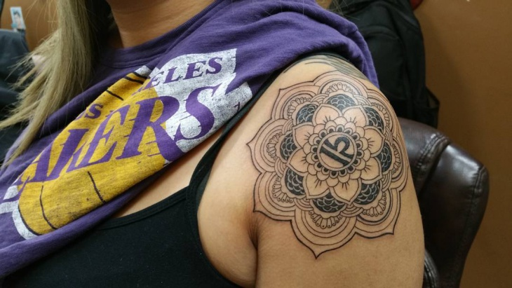 Mandala Flower Shoulder Tattoo