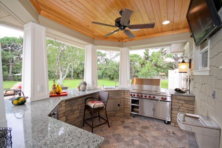 small covered outdoor kitchen