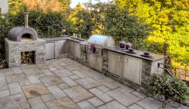traditional l shaped outdoor kitchen