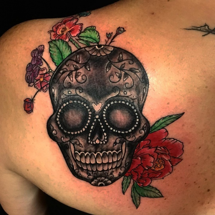 sugar skull shoulder tattoo