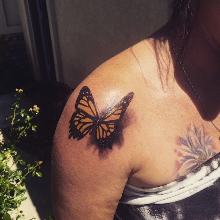 3D Butterfly Shoulder Tattoo