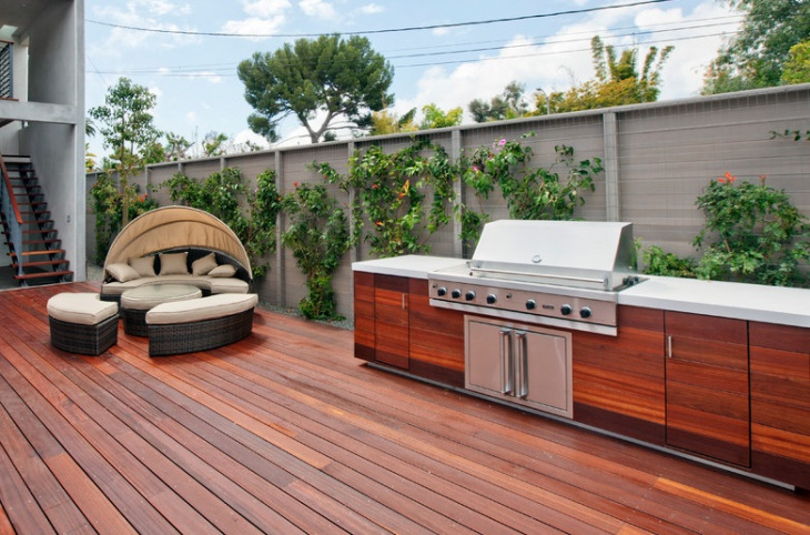 wood deck outdoor kitchen