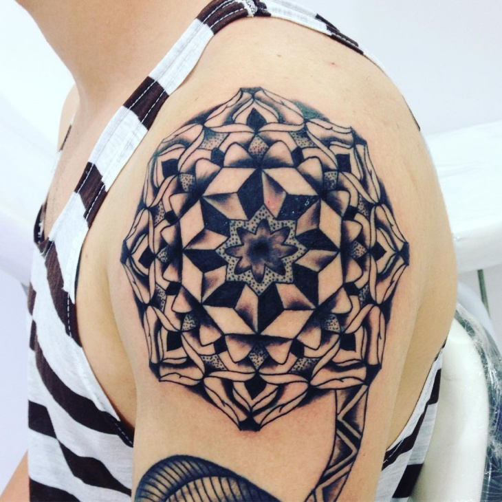 mandala shoulder tattoo for men