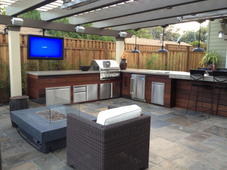 contemporary covered outdoor kitchen
