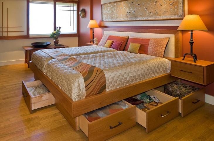 Wooden Bed Storage Design