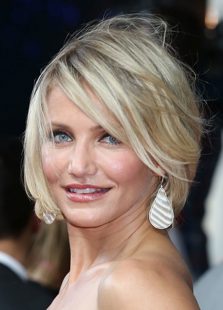 cameron diaz short blonde layered bob haircut