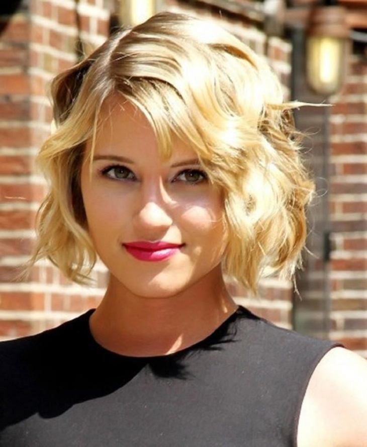 dianna agron short edgy curly bob haircut