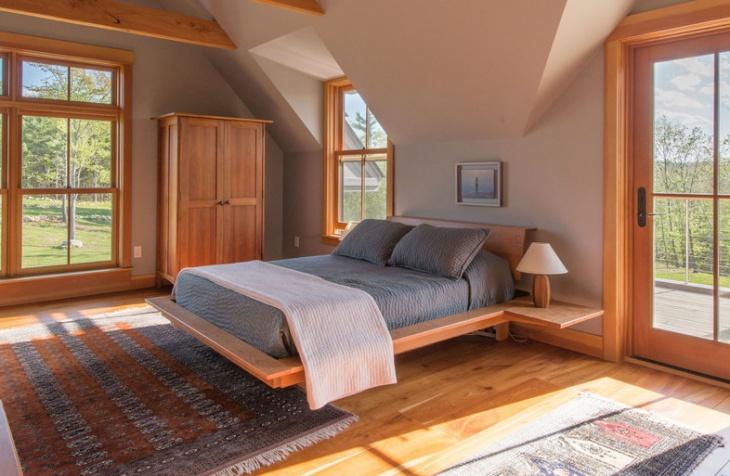 Wooden Floating Bed Design