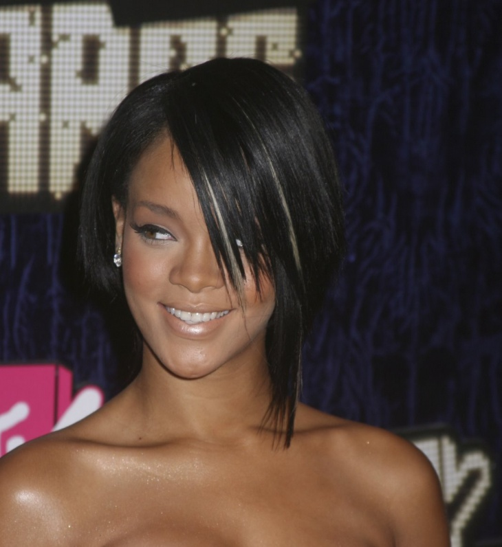 rihanna short asymmetrical bob black hairstyle