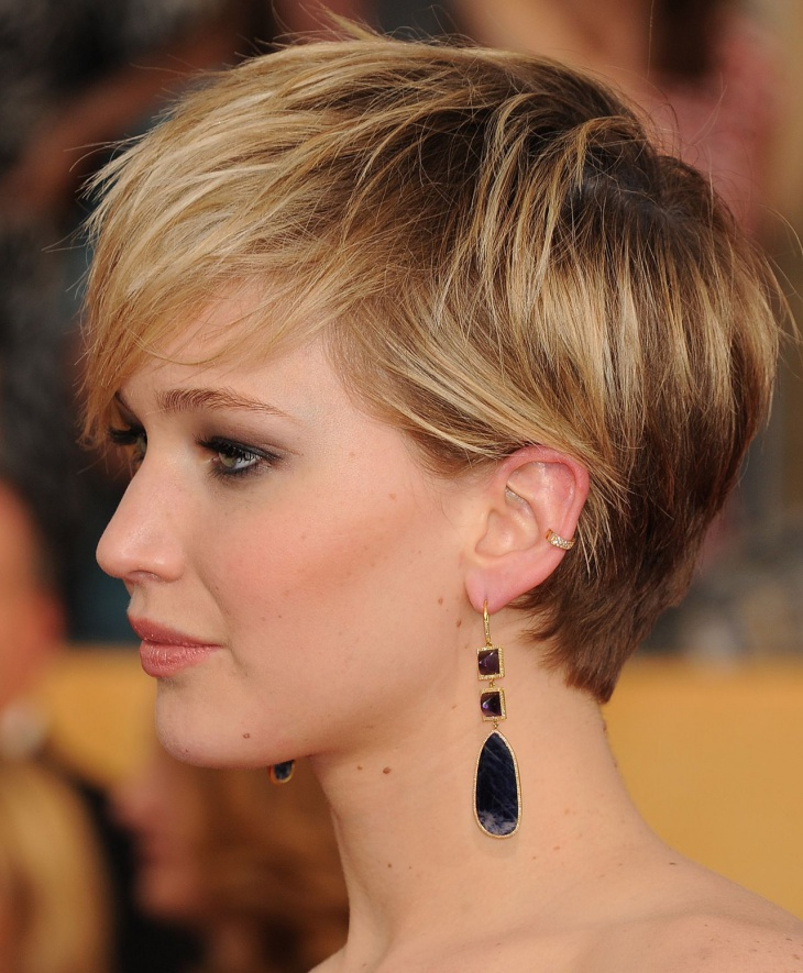 jennifer lawrence short funky edgy bob haircut