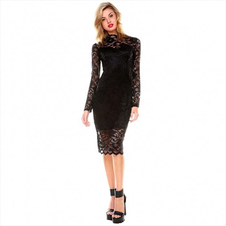 Little Black Long Sleeve Lace Dress