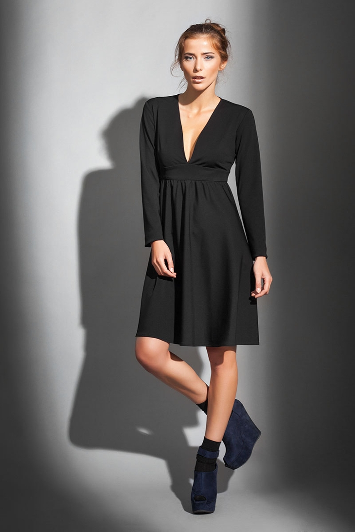 Long Sleeve V-Neck Little Black Dress