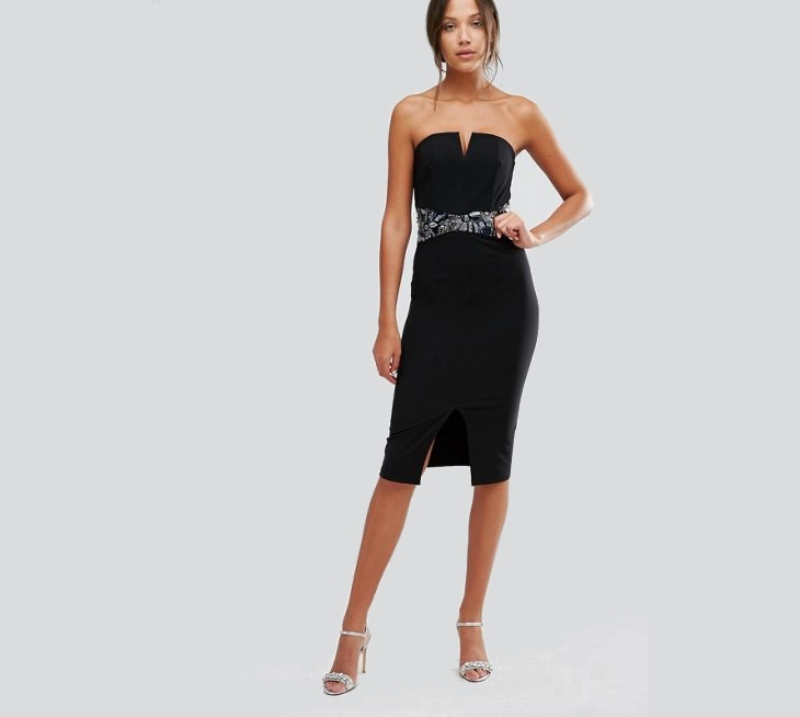 strapless little black party dress