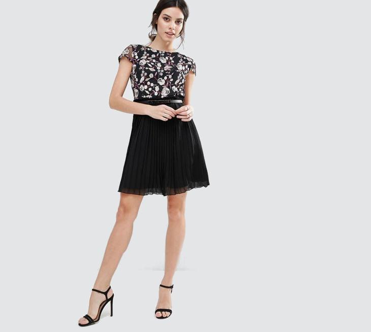 Little Mistress Black Skater Dress