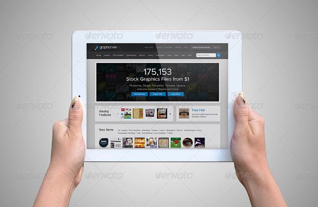 Holding White iPad Mockup