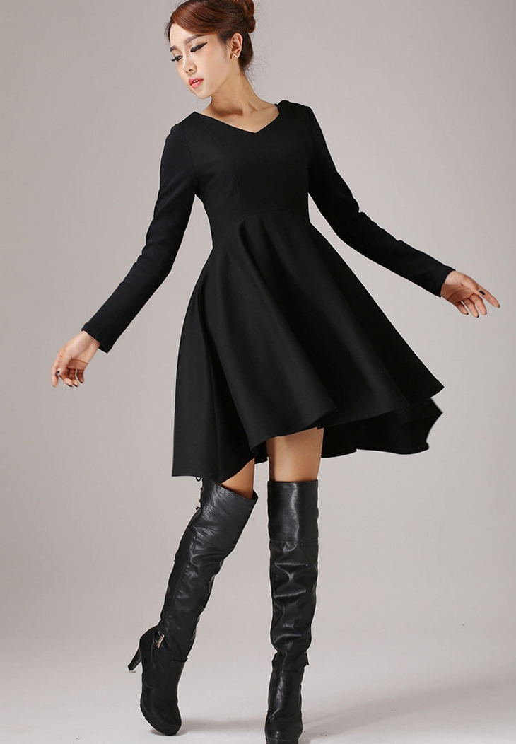Little Black Prom Dress with Sleeves