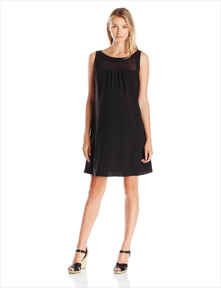 Little Black Shift Chiffon Dress