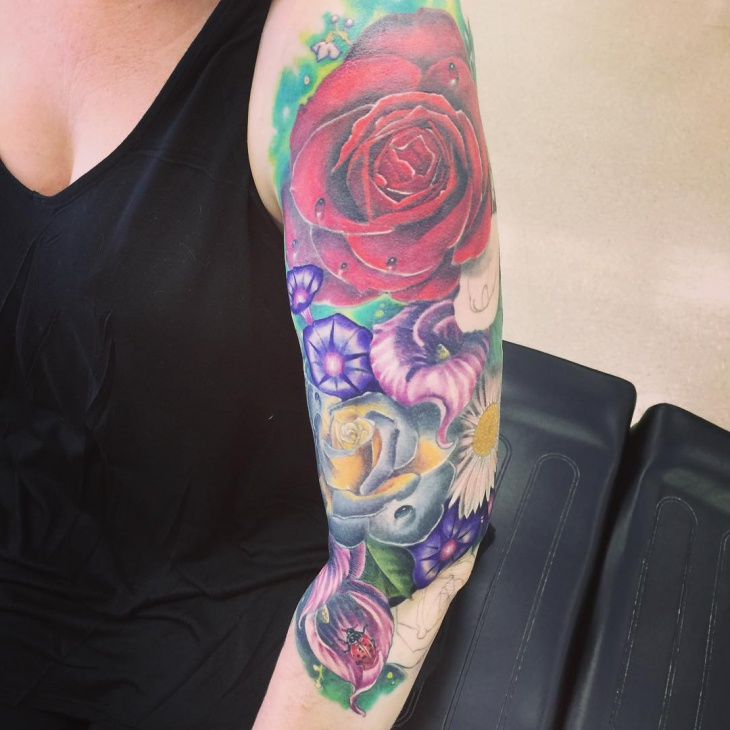 Girl Flower Sleeve Tattoo
