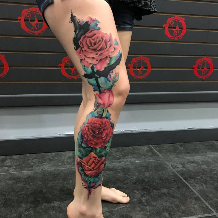 Girl Full Leg Tattoo