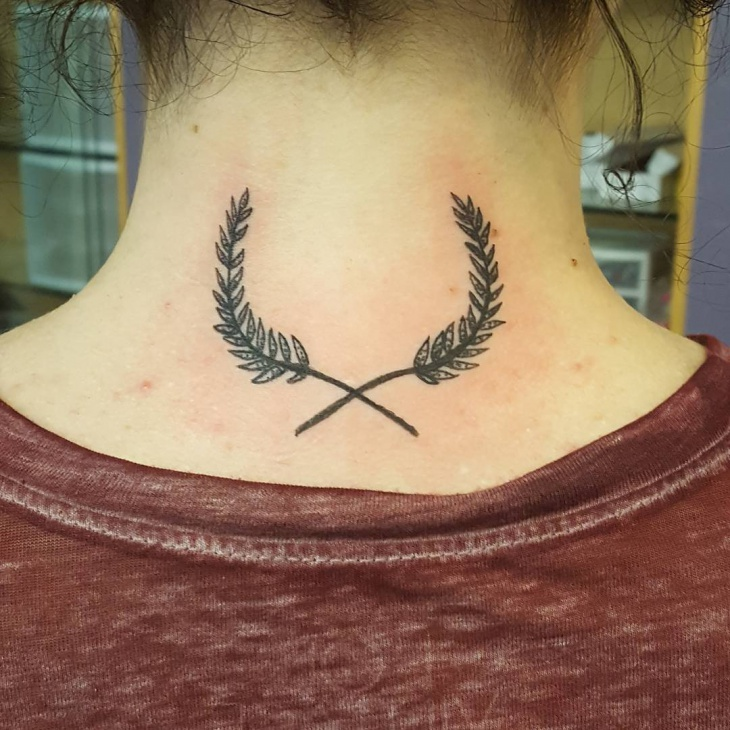 Girl Back Neck Tattoo