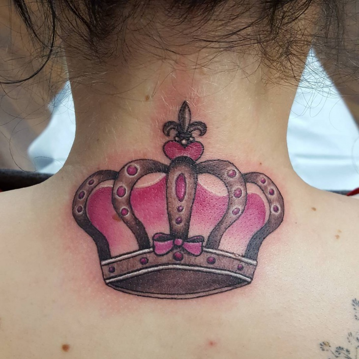 Girl Crown Tattoo on Neck