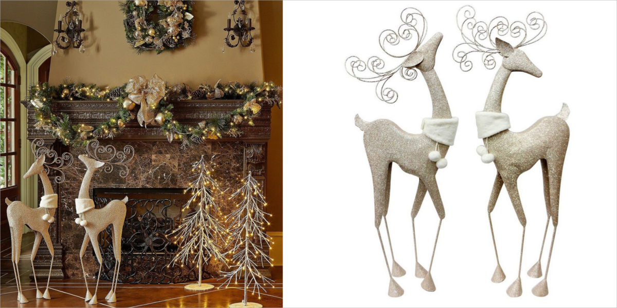 fireplace christmas decorations elegant home fashion accessories holiday 2 deer set
