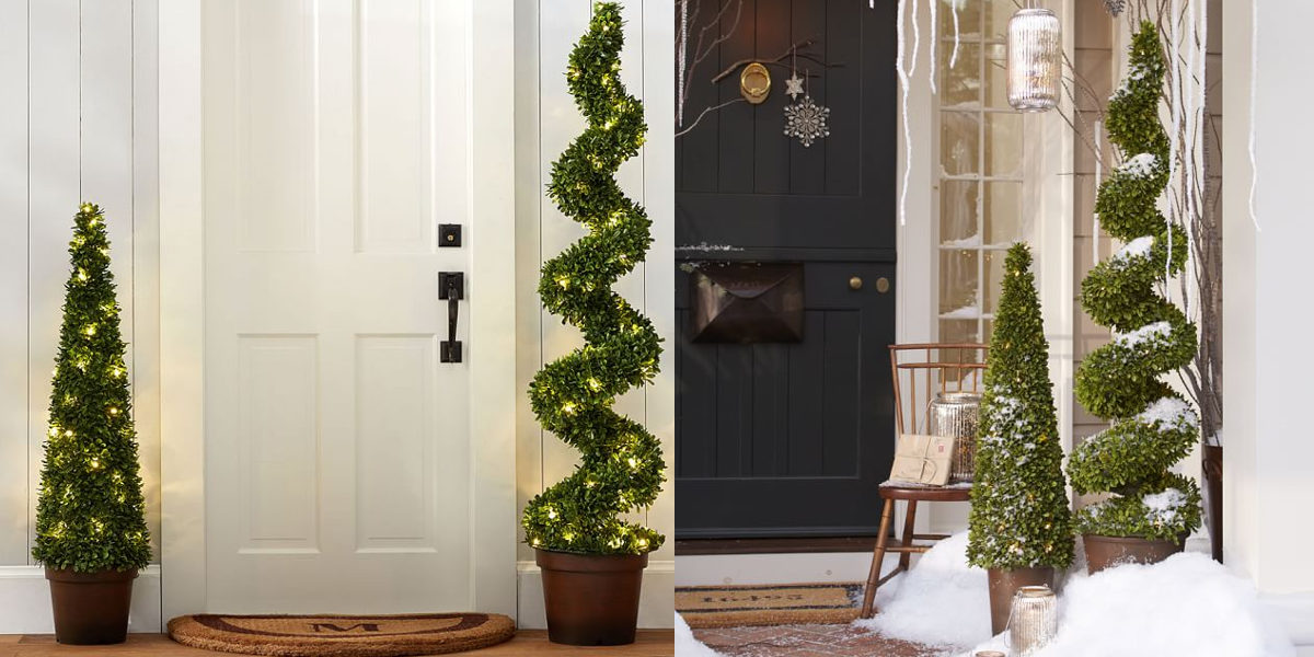 lit led boxwood topiary