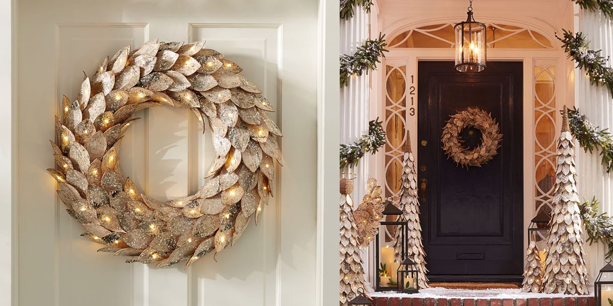 lit birch wreath