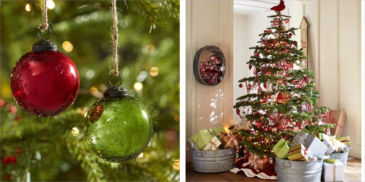 red and green mercury glass ball ornament