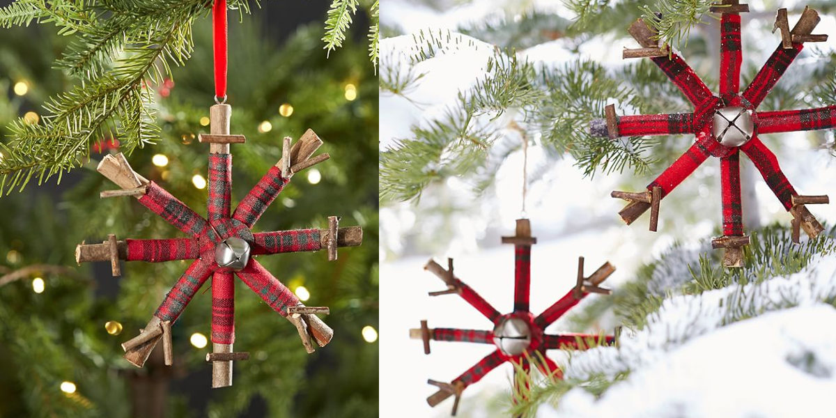 plaid snowflake ornament