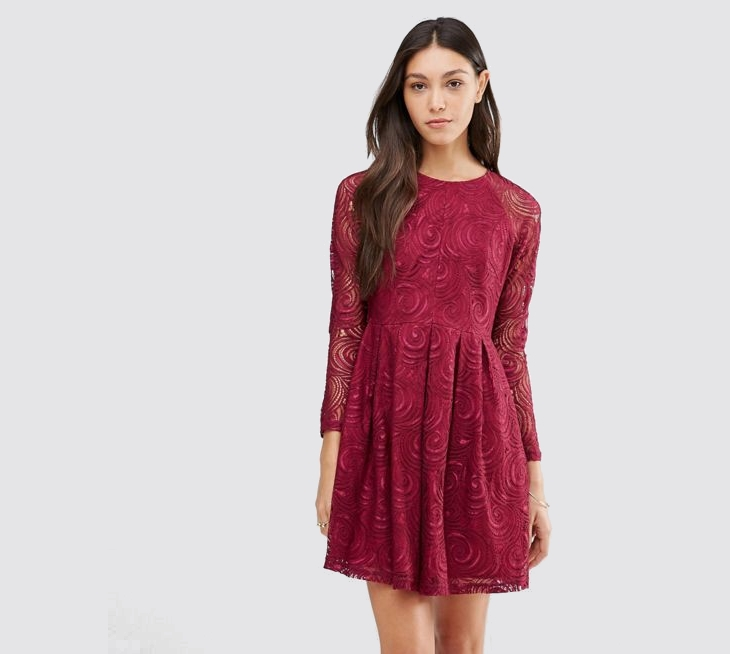 Long Sleeve Red Lace Dress