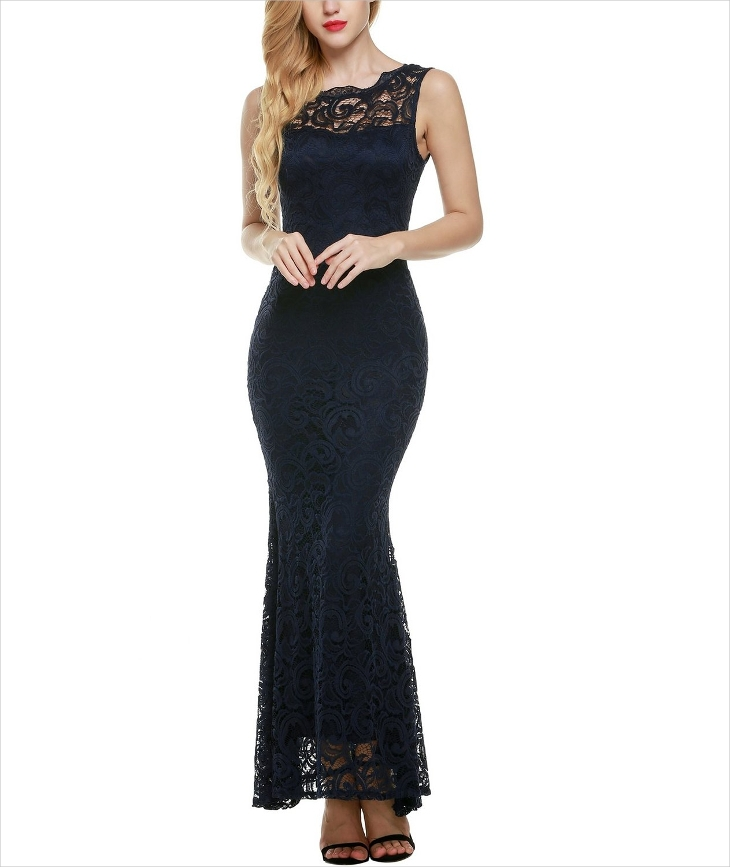 Backless Lace Formal Dress,