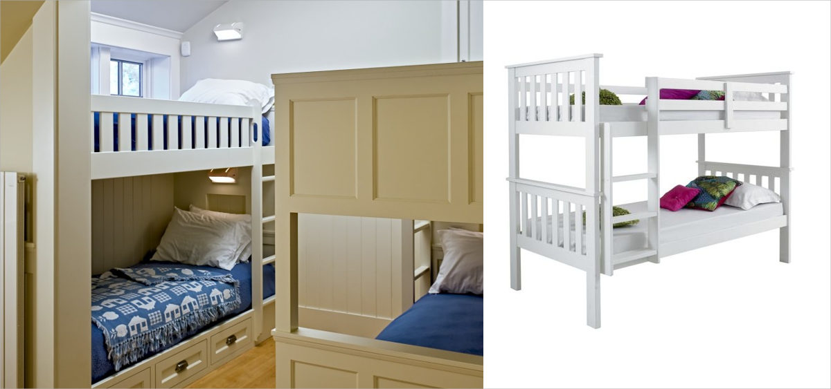 elegant white bunk bed